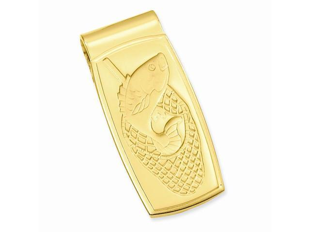 Stainless Steel Fish in Net Hinged Engravable Money Clip. Lovely Leatherrete Gift Box Included