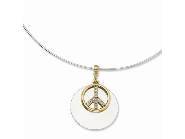 Silvertone with Gold-tone & Crystal Peace Symbol 17
