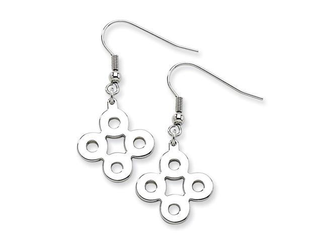 Stainless Steel Polished Connected Circles Dangle Earrings (1.4IN x 0.7IN )