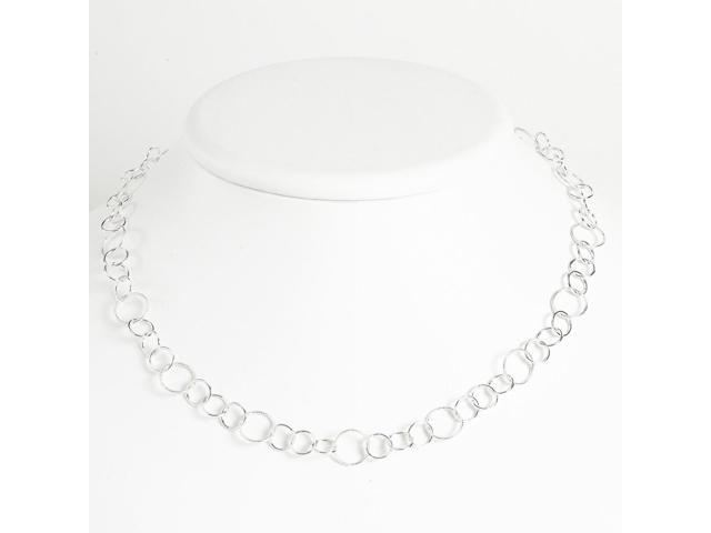 Sterling Silver 42in Fancy Circle Necklace