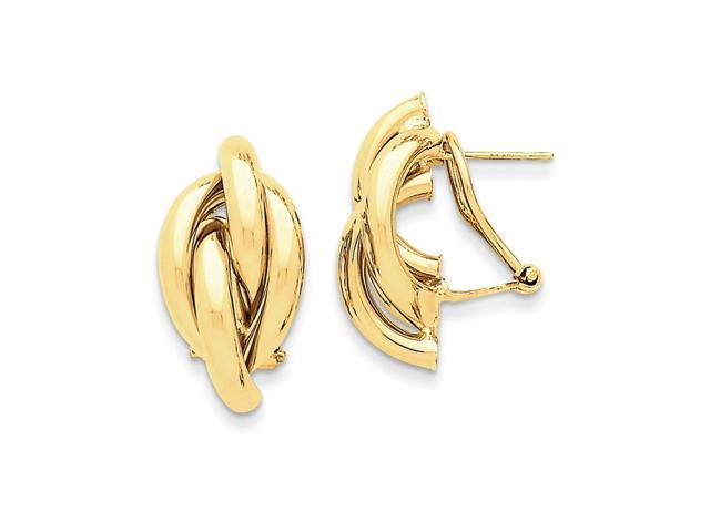 14k Yellow Gold Swirl Omega Back Post Earrings (0.9IN x 0.5IN)
