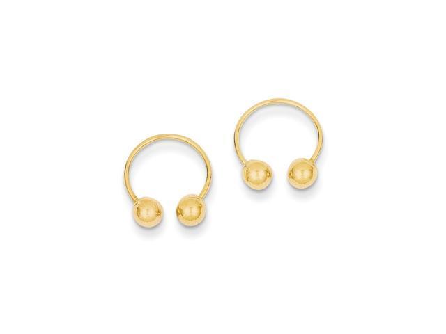 14k Yellow Gold Childs Open Hoop Screwback Beaded Earrings w/ Gift Box (0.5IN Long)