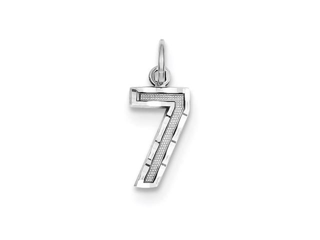 14k White Gold Casted Small D/C Number 7 Charm Pendant