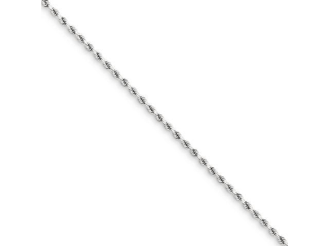 14k White Gold 9in 1.8mm Handmade D/C Rope Chain Bracelet