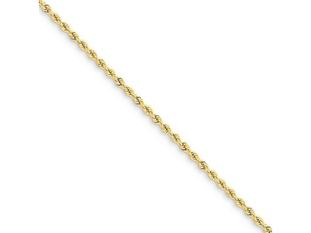 14k Yellow Gold 10in 2.25mm Handmade Regular Rope Anklet Chain