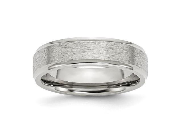 Stainless Steel Ridged Edge 6mm Satin and Polished Engravable Band