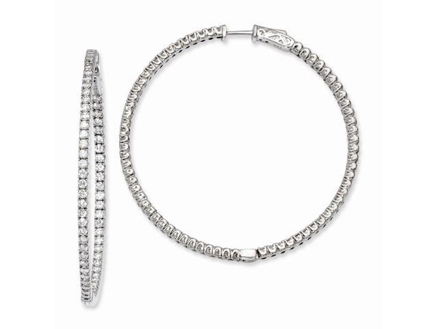Sterling Silver Rhodium Plated with Synthetic CZ 2.00IN Hinged Hoop Earrings (1.9IN x 2IN )