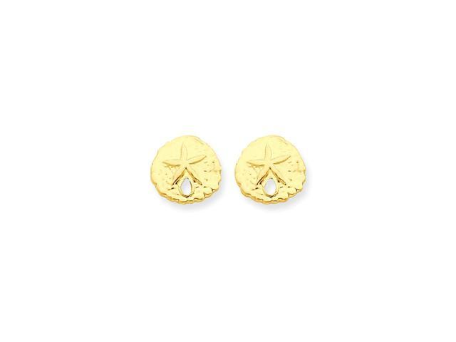 14k Yellow Gold Childs Sand Dollar Post Earrings w/ Gift Box (10MM Long x 10MM Wide)