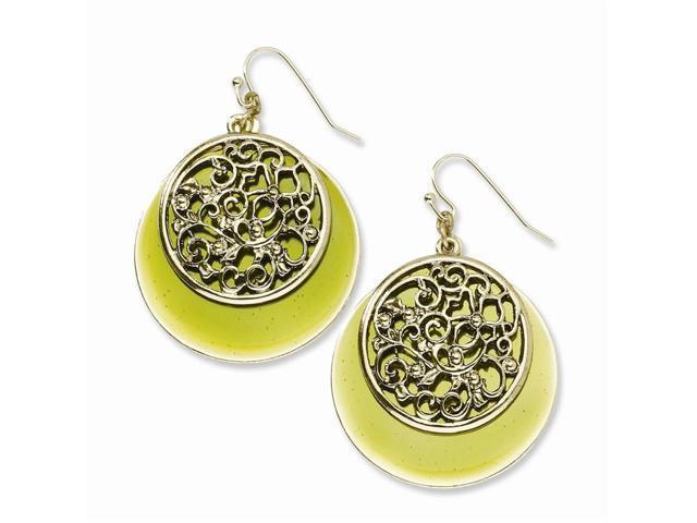 Brass-tone Filigree & Green Enamel Circle Dangle Earrings
