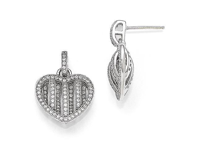 Sterling Silver Rhodium Plated & Synthetic CZ Brilliant Embers Polished Heart Dangle Post Earrings (0.7IN x 0.6IN)
