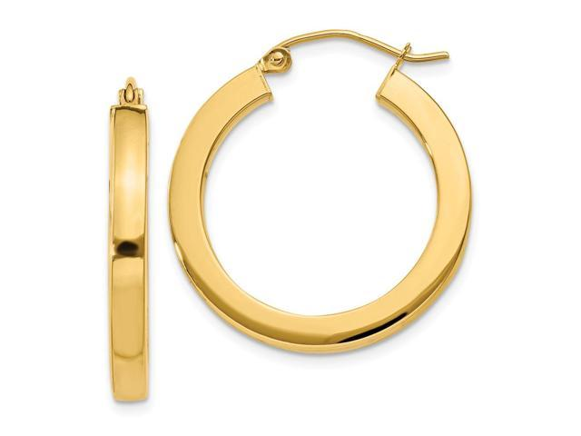 14k Yellow Gold 3mm Polished Square Hoop Earrings. 25mm Diameter.