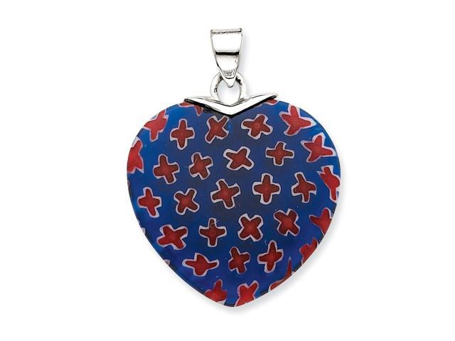 Sterling Silver Blue & Red Stone Polished Heart Pendant