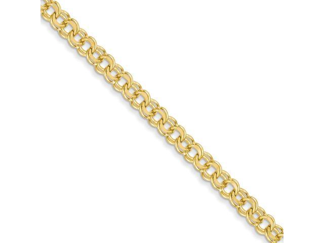 14k Yellow Gold 7in 5.5mm Solid Double Link Charm Bracelet