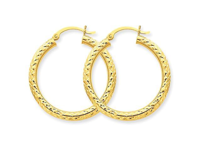 14k Yellow Gold Diamond-cut 3mm Round Hoop Earrings. 30mm Diameter.