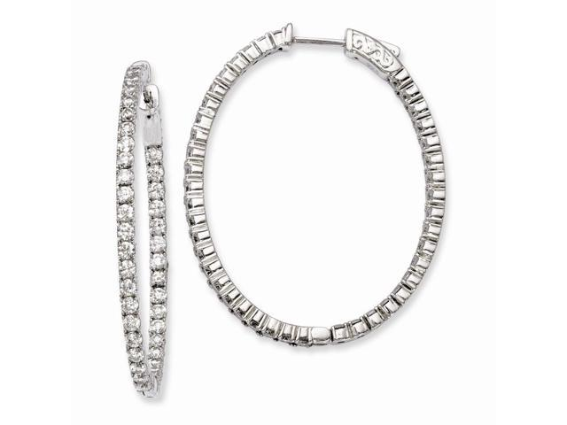 Sterling Silver Rhodium Plated with Synthetic CZ Hinged Oval Hoop Earrings (1.6IN x 1.3IN )