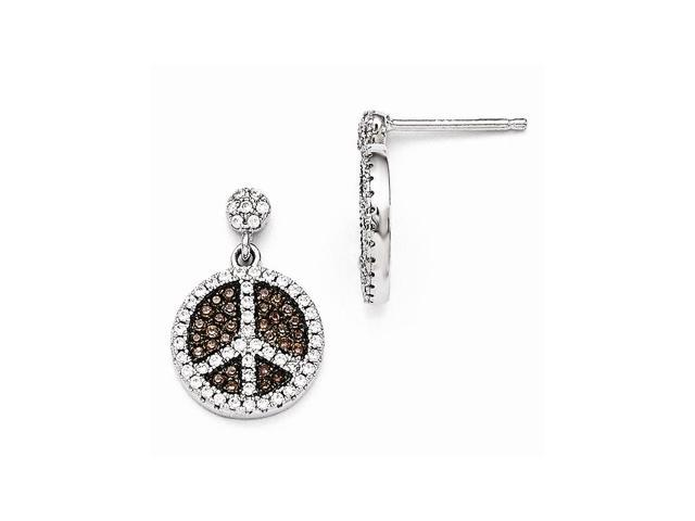 Sterling Silver Rhodium Plated & Synthetic CZ Brilliant Embers Peace Sign Dangle Post Earrings (0.7IN x 0.5IN )