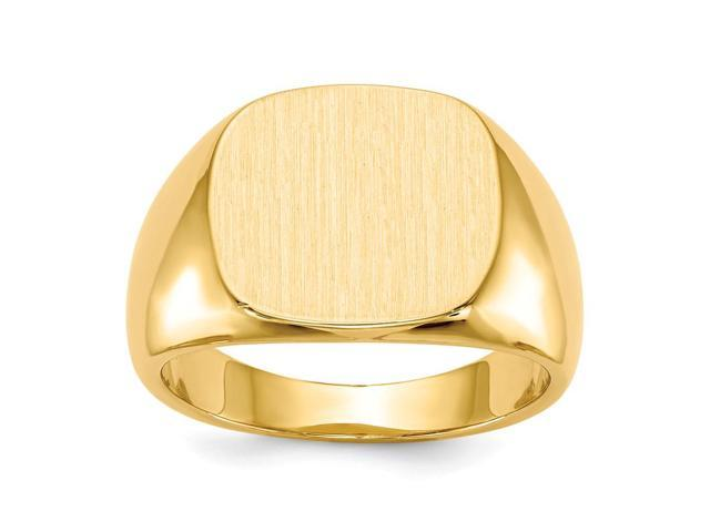 14k Yellow Gold Engravable Men's Signet Ring (15mm x 13.5mm face)