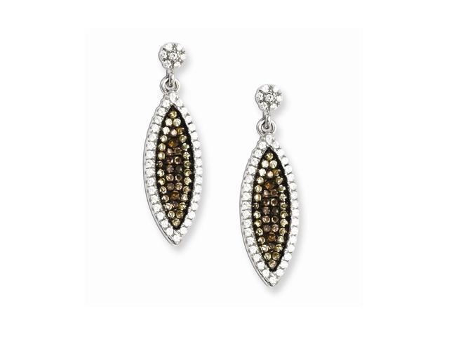 Sterling Silver & Synthetic CZ Embers Dangle Post Earrings