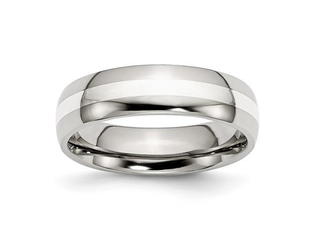 Stainless Steel 925 Silver Inlay 6mm Polished Engravable Band