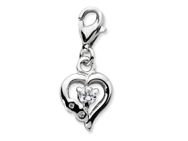 Sterling Silver Rhodium Plated Polished Click-on Synthetic CZ Polished Heart Charm (0.4in)