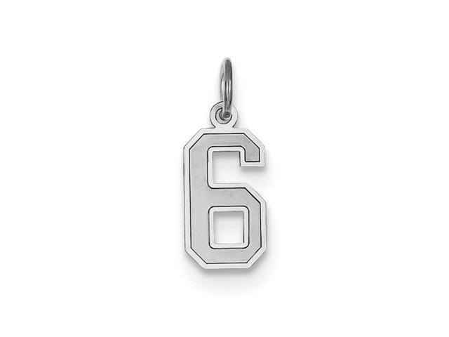 14k White Gold Small Satin Number 6 Charm Pendant