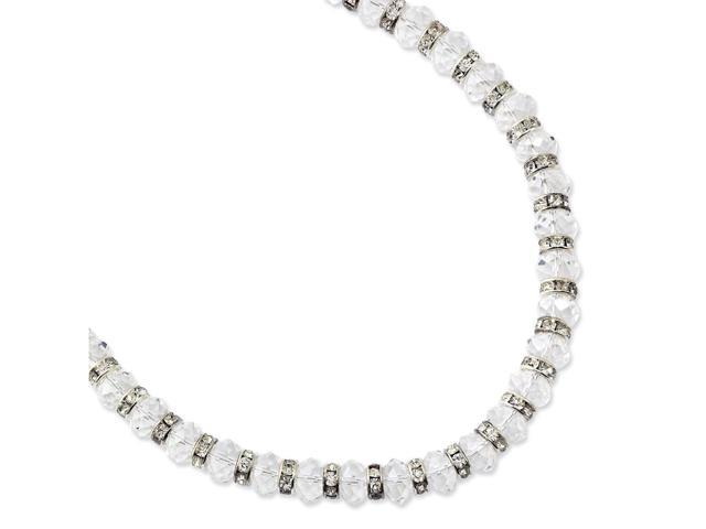 Silvertone Polished Clear Crystal 15in with ext Necklace
