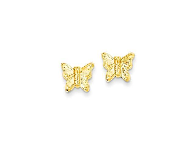 14k Yellow Gold Childs Butterfly Post Earrings w/ Gift Box (10MM Long x 10MM Wide)