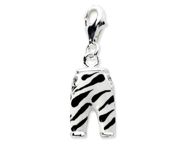 Sterling Silver Rhodium Plated Click-on Synthetic CZ Enamel Zebra Pants Charm (0.6IN long x 0.4IN wide)