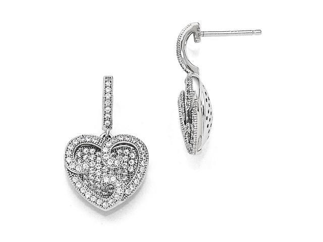 Sterling Silver Rhodium Plated & Synthetic CZ Brilliant Embers Polished Heart Dangle Post Earrings (0.8IN x 0.5IN)