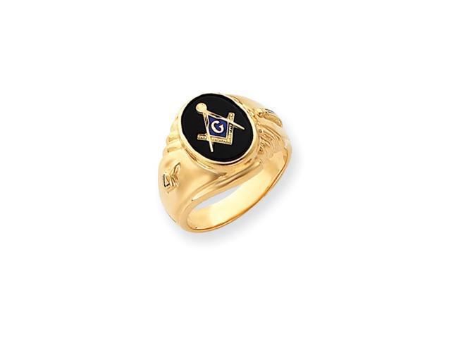14k Yellow Gold Onyx Men's Masonic Ring