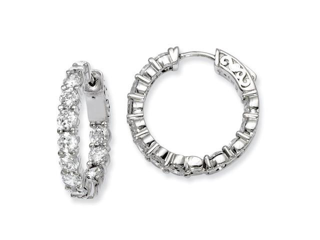 Sterling Silver Rhodium Plated with Synthetic CZ 0.7IN Hinged Hoop Earrings (0.8IN x 0.8IN )