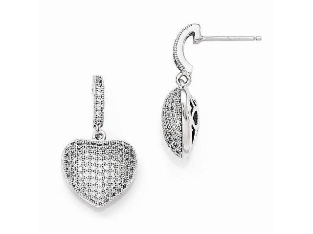 Sterling Silver Rhodium Plated & Synthetic CZ Brilliant Embers Polished Heart Dangle Post Earrings (0.7IN x 0.5IN)