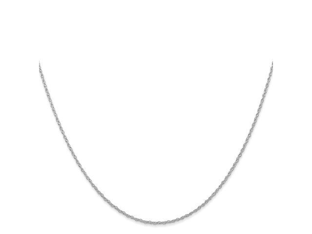 14K White Gold Thin 18in 1.00mm Carded Cable Rope Necklace Chain