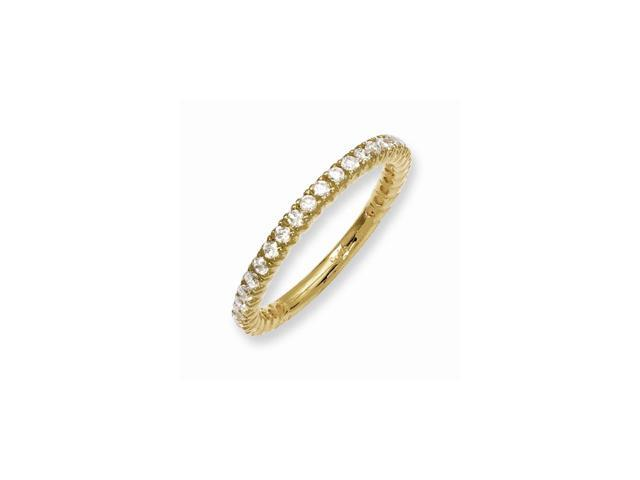Sterling Silver 14k Yellow Gold-Plated with Synthetic CZ Ring