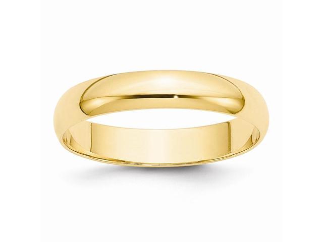 14k Yellow Gold Engravable 4mm Lightweight Half-Round Band