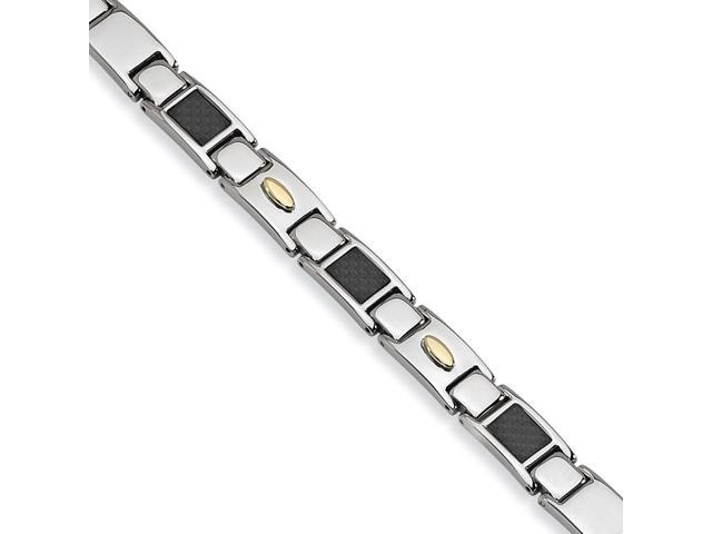 Stainless Steel Carbon Fiber 24k Gold Plated Bracelet. 9.5in long.