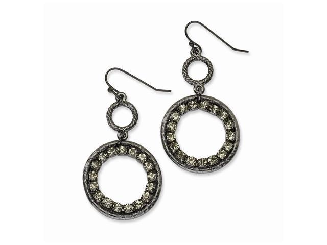 Black-plated Smokey Crystal Dangle Earrings