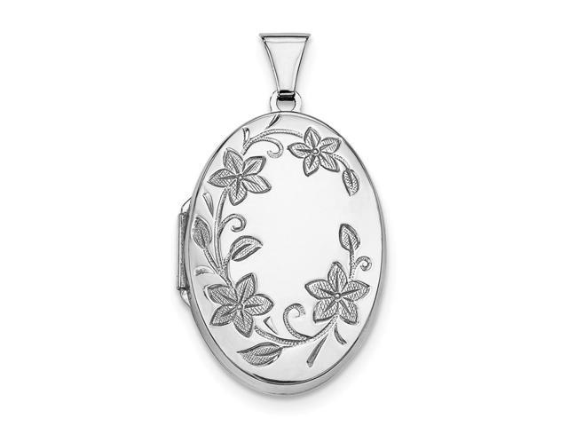 Sterling Silver 32mm Riversible Floral Oval Locket