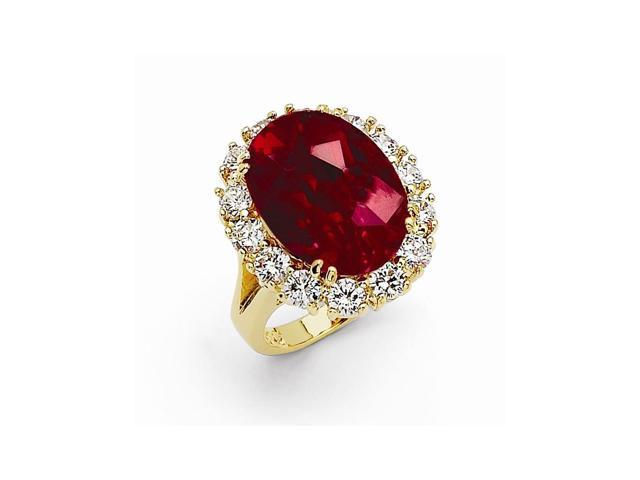 24k Gold-Plated Synthetic Simulated Swarovski Ruby Oval Ring
