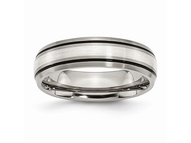 Titanium 925 Sterling Silver Engravable Inlay 6mm Brushed and Antiqued Band.