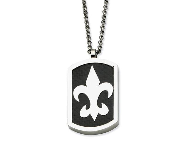 Stainless Steel Trinity Symbol & Fleur De Lis Reversible Dog Tag 22in Necklace.