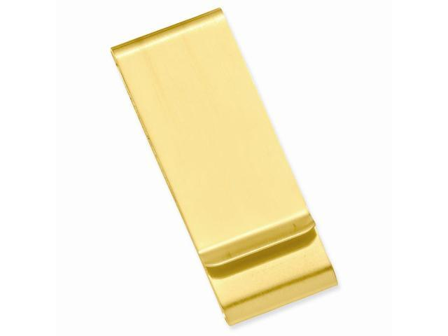 14k Gold-plated Stainless Steel Satin Double Fold Engravable Money Clip