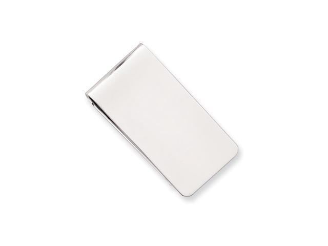 Rhodium Plated Stainless Steel Polished Rectangle Engravable Money Clip