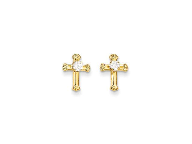 14k Yellow Gold Childs Cross Synthetic CZ Post Earrings w/ Gift Box (10MM Long x 8MM Wide)
