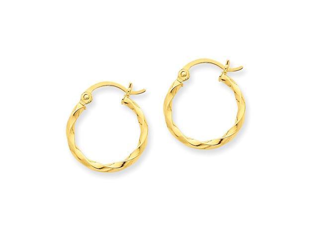 14k Yellow Gold Twist Polished Hoop Earring. Length 19mm x Width 15mm.