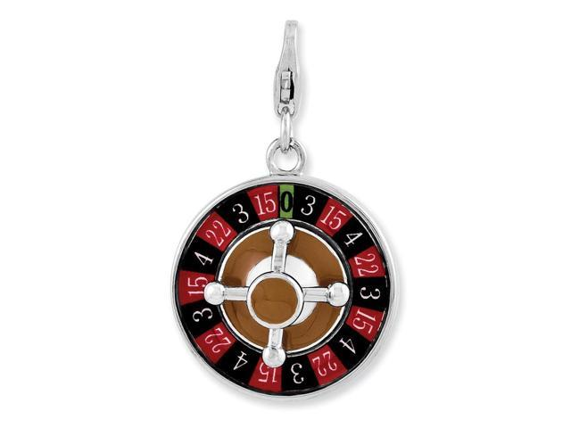 Sterling Silver Rhodium Plated Enameled 3-D Roulette Wheel with Lobster Clasp Charm (0.7in)
