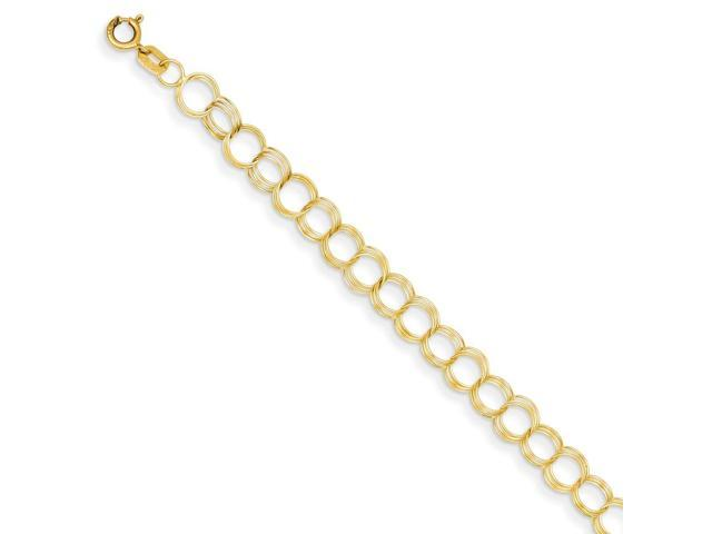 14k Yellow Gold 7in Solid Triple Link Charm Bracelet