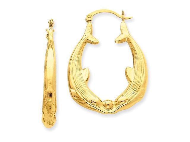 14k Yellow Gold Polished Dolphin Hoop Earrings. Length 35mm x Width 25mm.