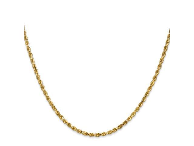 14k Yellow Gold 22in 2.25mm D/C Rope with Lobster Clasp Necklace Chain