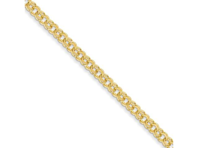14k Yellow Gold 7in 4.75mm Solid Double Link Charm Bracelet
